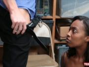 Ebony Daya Knight splashed with cumshot to avoid being