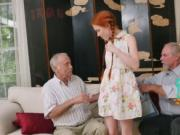 Petite redhead takes an elderly pecker into her tight p