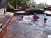 Naked and tiny Emma Hix swims with her friends and fuck