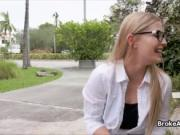 Broke big tit teen in glasses fucked outdoors