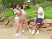 Slutty hot MILFS Alexis with Monique and Rachel sucks a