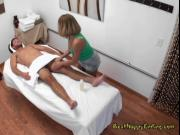 Busty Masseuse Mena Li Massages Clients Cock
