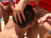 Lifeguards pounded naughty dude