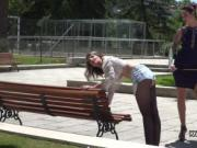 Lezdom canning in public park bent over bench