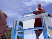 Life guard gives head and anally banged outdoors