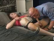 Sexy brunette shemale Jacqueline Woods gets her ass ban
