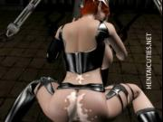 Milky 3D anime slave riding a big cock