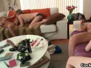 Four hot sluts in lesbian strapon foursome free porno 1