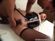 Nasty brunette asian babe sucks stiff dick and gets aro