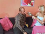 Young sexy blonde feels horny after drinking some wine