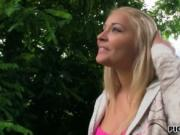 Hot amateur blonde Eurobabe fucked in public for money
