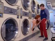 Busty redhead smashed in laundry area