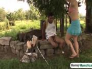 Handicapped guy fucks hot chick outdoors