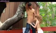 Teenie doing blowjob in house tree