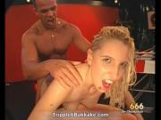 Filthy blonde slut gets fucked hard in a bukkake gangba