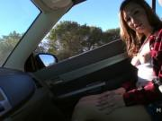 Natural teen flashing tits in strangers car