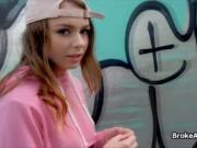 Teen hottie sucks in public for money