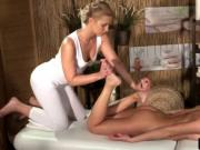 Blonde masseuse bewitched with natural beauty brunette