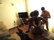 Two Amateur African Sluts Take Long White Dong