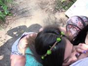 Teen babes protest and fucked in the forest