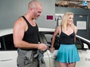 Busty blonde fucks big cock in garage
