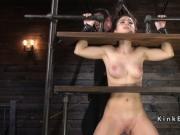 Gagged slave in device bondage caned