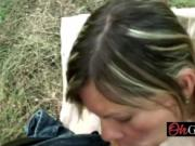 Round ass MILF sucking big cock in POV outdoors