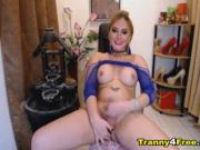 Hot Tranny Jerking on her Big Dick