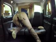 Blonde flashes red knickers in fake taxi