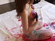 Sexy artist is painted and fucked