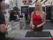 Busty blonde babe Skyla Novea bangs pawnman for cash