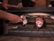 Babe in wooden stocks anal fucked