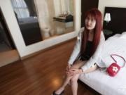 Redhead Asian escort with hairy pussy performed cock ri