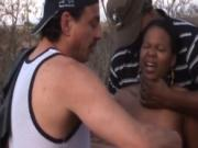 Kinky guys banging black babe outdoors