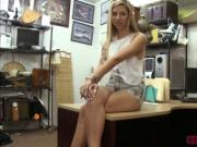 A horny pawnman fucks sexy blonde slut in his office
