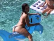 College babes hot lesbian pool party