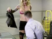 Blonde babe pleasing her stressed office mate by riding