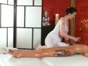 Naked tattooed beauty got oil massage