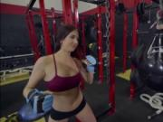 Hot babe Aubrey Rose fucks with her bf in the gym