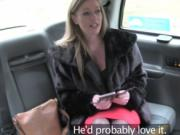 Blonde lady makes love inside the taxi with the fake ta