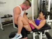 Horny Violet Starr seducing a guy in the gym and fuckin