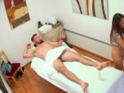 Stud fucks inside massage saloon