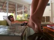 Babe gets jizz with help of her feet