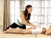 Body massage turns into lesbian action with two hot bab