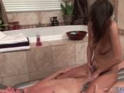 Gorgeous brunette fucks husband in the bathroom 5 by Cl