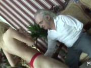 Old guy fucks a young girl!