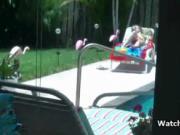Titty GF strips bikini by the pool