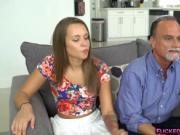 Liza Rowe gives handjob to dads best friend