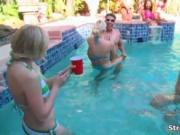 Nasty blonde babes go crazy playing in the pool by Stri