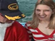 Nasty blonde gets horny on a boat when Santa tries to f